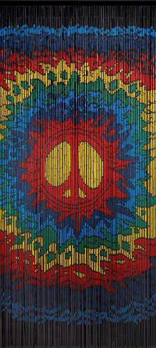 Bamboo Beaded Psychedelic Peace Design Door Curtain picclick.com