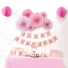 Birthday Party Hanging Paper Decoration Kit Banner Tassel Garland Paper Fan Rosettes Honeycomb Balls Star Garland for Birthday Pink Happy Birthday, Happy Birthday Parties, Happy Birthday Banners, Princess Birthday, Pink Princess, Happy Party, Birthday Garland, Birthday Cake Card, Simple Birthday Decorations