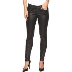 AG Adriano Goldschmied Leggings Ankle in Vintage Black (Vintage Black)... (£87) ❤ liked on Polyvore featuring pants, leggings, black, denim leggings, leather pants, stretchy leather leggings, slimming leggings and leather leggings