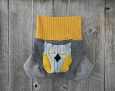 Upcycled Wool Soaker Cover Diaper Cover With Added Doubler Gray /Yellow  With Owl Applique SMALL 3-6M Kidsgogreen