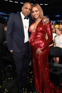 Jessica Rabbit Who? Beyonce Stuns (and Shows Off Her Bump!) in a Sequined Red Gown While Posing with JayZ