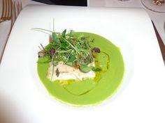 Green pea cream soup with sea bass filet @ Restaurant Accademia del Gusto