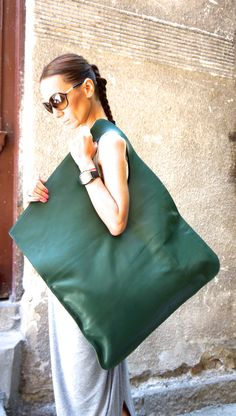 NEW Genuine Leather Forest Green Bag / High Quality by Aakasha