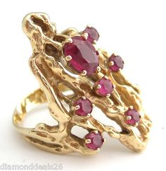 1.25CT Fine Vintage Oval & Round Oversized Ruby Ring 14K Yellow Gold 9.9 Grams