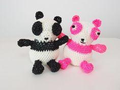 Panda Rainbow Loom Bands Amigurumi Loomigurumi Hook Only Tutorial - YouTube