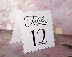 Wedding Table Number Tent Style Cards  White Scallop by decocards, $0.99