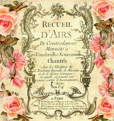 Vintage Rose French Ephemera Digital Download
