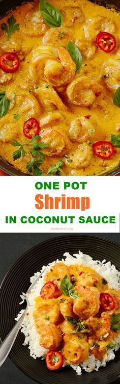 One Pot Shrimp in Coconut Sauce - What is easy, summery, comforting, and super delish…all at the same time? This ONE POT SHRIMP IN - Shrimp Dishes, Fish Dishes, I Love Food, Good Food, Yummy Food, Seafood Recipes, Cooking Recipes, Shrimp And Scallop Recipes, Chinese Shrimp Recipes