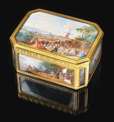 A gold cagework boîte à miniatures,Pierre-François Drais, Paris, 1767, the miniatures by Louis-Nicolas van Blarenberghe, signed and dated 1767 .