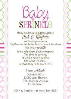 baby 39 s sprinkle shower invitation for a second baby modern pattern