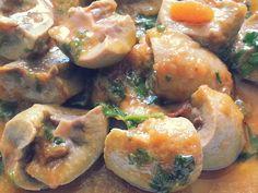 Curry de riñones de cordero con cilantro y gengibre.