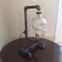 Crystal Head Vodka lamp / steam punk/ industrial/ skull by MattyJs