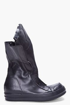 eb9278f192ba1 Rick Owens - Black Leather Sneaker Boots for Men - Lyst