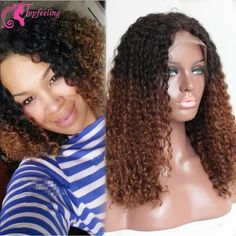 108.75$  Watch now - http://alivbz.worldwells.pw/go.php?t=32390095481 - 7A Ombre Brazilian Virgin Hair Kinky Curly Wig Short Human Hair Wigs Glueless Full Lace Wigs Lace Front Wigs For Black Women 108.75$