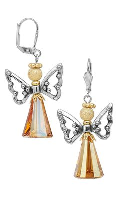 Jewelry Design - Earrings with Swarovski Crystal, Antiqued Silver-Plated Pewter Beads and Gold-Plated Brass Beads - Fire Mountain Gems and Beads