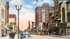 Downtown Fond du Lac,WI . Retlaw theater and hotel shown (Retlaw is the original builder's name:Walter, backwards)