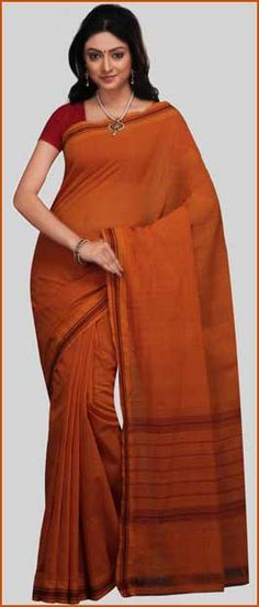 Orange Mangalagiri #Handloom #Cotton #Saree with #Blouse | $27.51 | Click to Shop : http://www.utsavfashion.com/store/sarees-large.aspx?icode=sht15