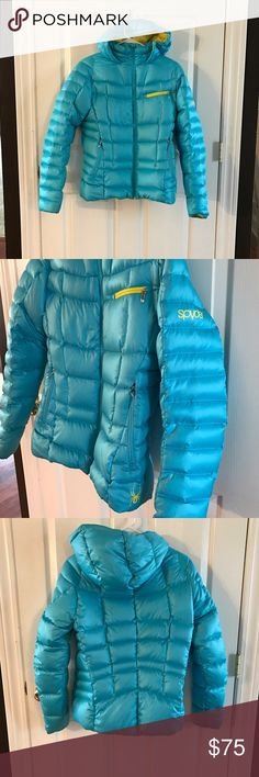 Ladies Spyder Timeless Down Jacket Medium Like New Spyder timeless down puffer jacket turquoise with yellow trim lightweight but so warm! Has good and 3 pockets originally 229.00 Spyder Jackets & Coats Puffers