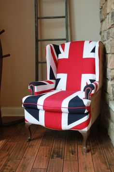 Hey, I found this really awesome Etsy listing at https://www.etsy.com/listing/156254105/union-jack-wing-back-chair-heavy-cotton