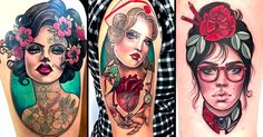 Beautiful lady tattoos done in neo traditional style by tattoo artist Hannah Flowers from Ink Slave Tattoos.
