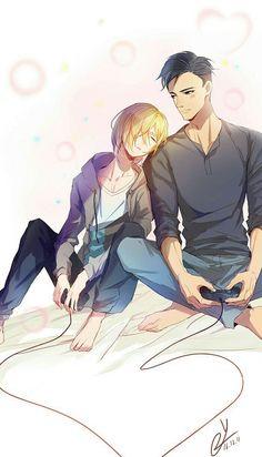 Yurio, Otabek, playing, videogames, cute, sleeping, blushing; Yuri!!! on Ice