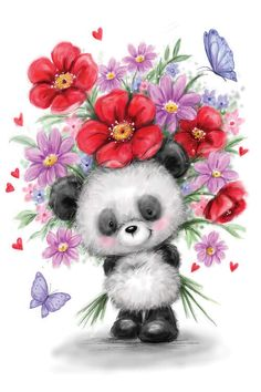 Cute Images, Cute Pictures, Cute Panda Cartoon, Teddy Bear Pictures, Flower Phone Wallpaper, Super Cute Animals, Tatty Teddy, Animal Sketches, Illustrations