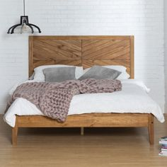 Manor Park Transitional Solid Wood Queen Platform Bed Caramel Size: 48 inch H x 64 inch Large x 84 inch W Bed Linens Luxury, Wood Bedroom Furniture, Bedroom Decor, Simple Bed, Wooden Bed Frames, Boho Bed Frame, Wood Bedroom, Bed Styling, Bedroom Design