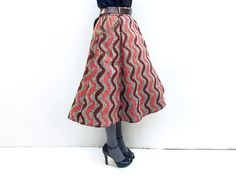 Brown and Pink African Print Midi Skirt, Flared Skirt, African Clothing