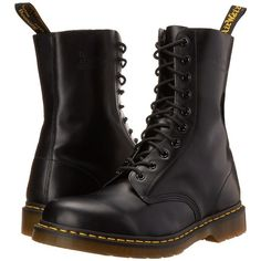 Dr. Martens 1490 (Black Smooth) Lace-up Boots (94.080 CLP) ❤ liked on Polyvore featuring shoes, boots, ankle booties, black, ankle boots, mid-calf boots, black lace-up boots, lace up ankle boots, laced up ankle boots and black platform booties
