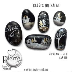Galets peints Salat et Garonne - Noël & fêtes - www.coeurdepierre.org Plus