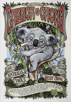 Limited Edition Silkscreened - Poster Artist Daymon Greulich - Full colour poster, silkscreen printed on thick stock with Cheech and Chong titles, tour dates and venue information. By poster Ganja, Cheech Y Chong, Stoner Art, Weed Art, Funny Phone Wallpaper, Tour Posters, Hippie Art, Artist Gallery, Inspiration Tattoos