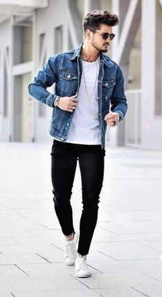 Healthy Men - Fall street wear combo white t-shirt blue denim jacket black skinny denim sunglasses no show socks white sneakers Trendy Mens Fashion, Stylish Mens Outfits, Fashion Black, Mens Fashion Outfits, Fashion Fashion, Fashion Ideas, Vintage Fashion, Fashion Tips, Mode Masculine