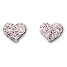 Swarovski Alana Pierced Earrings.  Delicate and dainty, these little hearts perfectly complement the Alana Pendant. Add a touch of elegance and a strong statement of soft femininity with this pair of rhodium-plated earrings set in Light Rose, Moonlight, and clear crystals. The Pointiage® technique ensures a stronger glimmer. The earrings come as a pair.