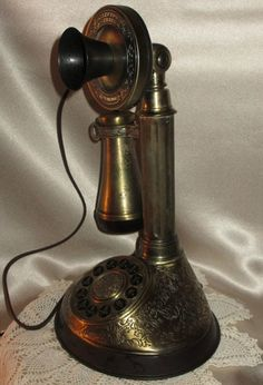 Telephone, Candlesticks, Bronze, Brass, French, Antiques, Decorations, Vintage, Design