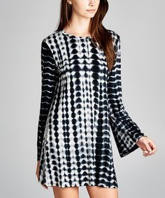 Loving this Black Tie-Dye Bell-Sleeve Tunic Dress on #zulily! #zulilyfinds