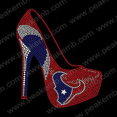 High Heel Shoes with Houston Texans Logo Rhinestone Transfer Motifs-Rhinestone Transfers Wholesale︱Custom Rhinestone Transfers︱Rhinestone Transfers Supplier–PEAKEMB