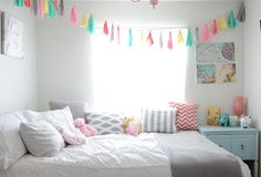 Soft but bright pastels with grey for a girl's room.  BRIGHT AND GIRLY