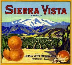 Riverside California Sierra Vista Orange Citrus Fruit Crate Label Art Print #SierraVista
