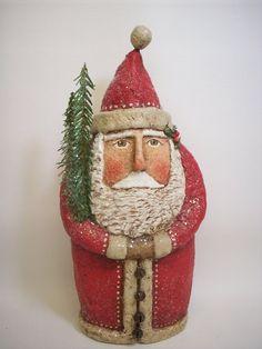 Paper Mache Folk Art Belsnickle Santa by papiermoonprimitives, $140.00