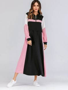 To find out about the Colorblock Zip Half Placket Drawstring Waist Sweatshirt Dress at SHEIN, part of our latest Sweatshirts ready to shop online today! Modest Fashion, Love Fashion, Fashion News, Fashion Outfits, Dress P, Dress Outfits, Casual Dresses, Dress Clothes, Sweat Dress