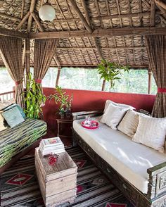 A modern take on a very traditional bahay kubo. Bamboo House Design, Bungalow House Design, Cottage Design, Tiny Living Rooms, Living Room Styles, Living Room Designs, Living Area, Bahay Kubo Design Philippines, Philippines House Design