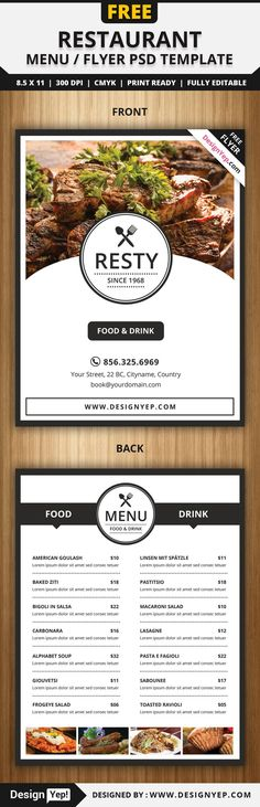 Free Restaurant Menu / Flyer PSD Template - Delivery Food - Ideas of Delivery Food - Free Restaurant Menu / Flyer PSD Template Flyer Layout, Menu Flyer, Poster Layout, Restaurant Poster, Restaurant Menu Design, House Restaurant, Graphisches Design, Layout Design, Rollup Design