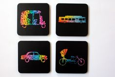 #GABAMBO Tables are scared of commitment. Use these coasters to keep them away from rings!  A set of 4 bright coasters inspired the Indian Modes of Transports.  #Rickshaw #Ambassador #CycleRickshaw #Bus  Available at www.gabambo.com