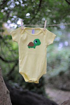Turtle Yellow Onesie- American Apparel 100% Cotton Baby Boy or Girl Bodysuit - Felt Hand Stitched Turtle - Gender Neutral