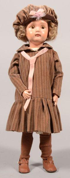 N.E. Schoenhut Painted Wood Girl Doll. 1911