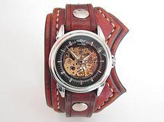leon / Kožené hodinky hnedé nesymetrické