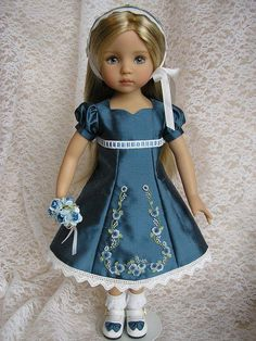 Dianna Effners's Little Darling doll in beautiful dress by Tomi Jane