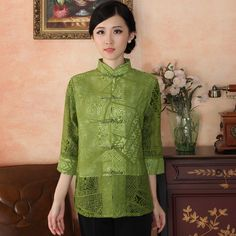 Charming Modern Frog Button Chinese Blouse - Green - Chinese Shirts & Blouses - Women