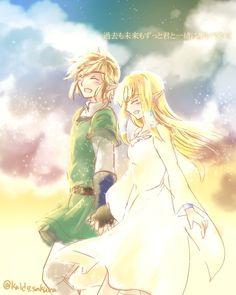 Link & Zelda, from #Skyward_Sword, by @kaido_sakura