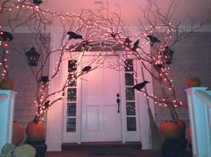 Halloween decorations for the entry of the front door.  A fun and haunting way to greet your guests.